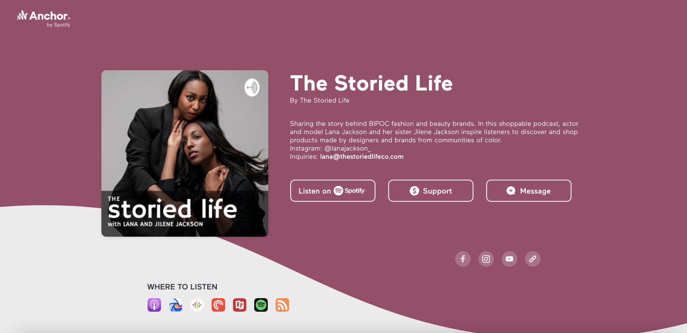 The Storied Life Anchor Podcast Site Homepage